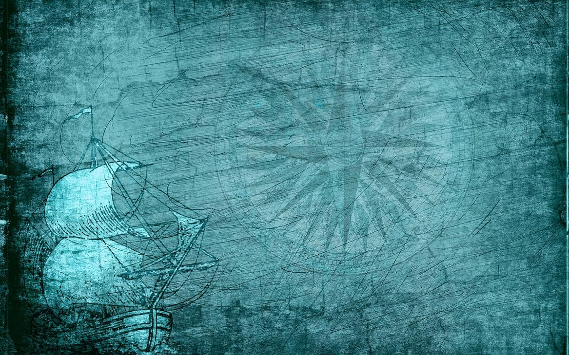 Wandmalerei Kompass und Segelschiff